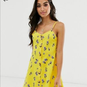 ASOS yellow floral mini cami swing dress Size: 8